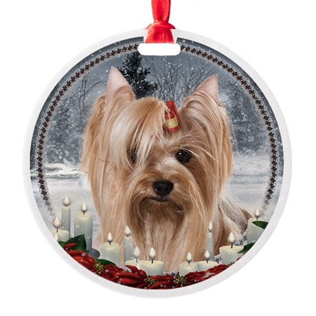 Santa Yorkie Round Ornament