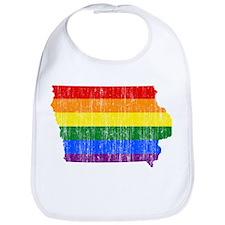 Iowa Rainbow Pride Flag And Map Bib
