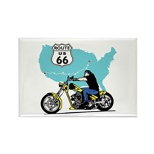 Route 66 Biker Rectangle Magnet