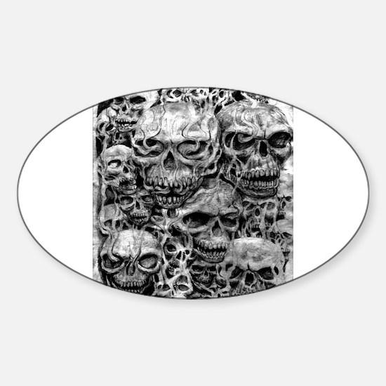 skulls dark ink Sticker (Oval)