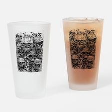 skulls dark ink Drinking Glass