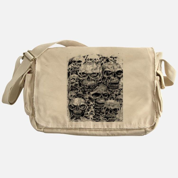 skulls dark ink Messenger Bag