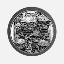 skulls dark ink Wall Clock