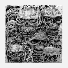 skulls dark ink Tile Coaster
