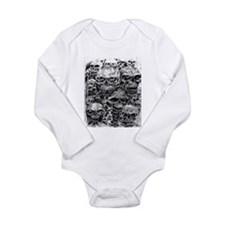 skulls dark ink Long Sleeve Infant Bodysuit