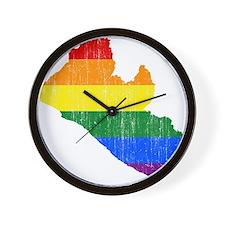 Liberia Rainbow Pride Flag And Map Wall Clock