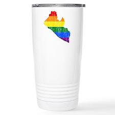 Liberia Rainbow Pride Flag And Map Travel Mug