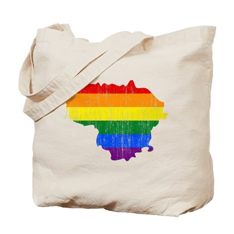 Lithuania Rainbow Pride Flag And Map Tote Bag
