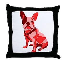 Bulldog Retro Dog Throw Pillow