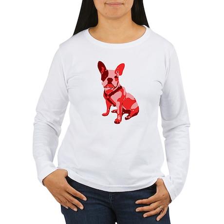 Bulldog Retro Dog Women's Long Sleeve T-Shirt