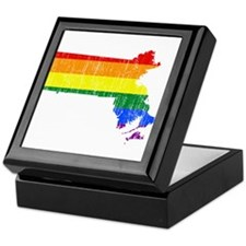 Massachusetts Rainbow Pride Flag And Map Keepsake