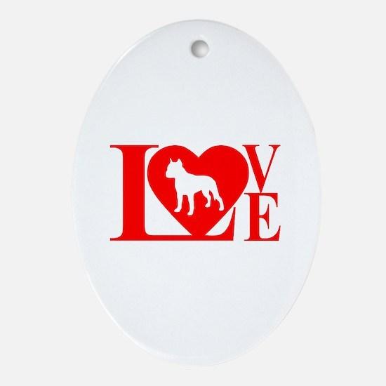 PIT BULL LOVE Ornament (Oval)