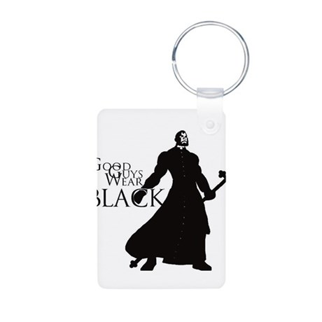 Good Guys Wear Black Aluminum Photo Keychain