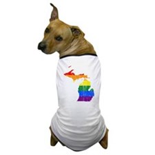 Michigan Rainbow Pride Flag And Map Dog T-Shirt