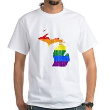 Michigan Rainbow Pride Flag And Map Shirt
