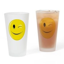 Winking Smiley Face Drinking Glass