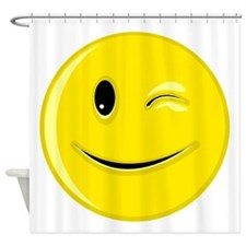 Winking Smiley Face Shower Curtain