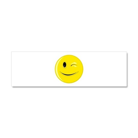 Winking Smiley Face Car Magnet 10 x 3