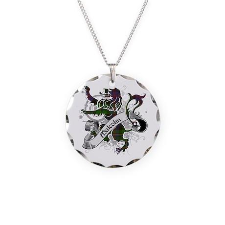 Malcolm Tartan Lion Necklace Circle Charm