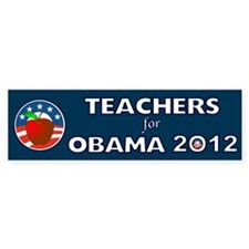 Teachers For Obama With Apple Bumper Sticker