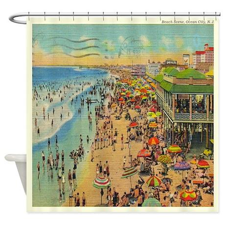 Vintage Ocean City Beach NJ Shower Curtain