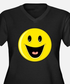 Laughing Smiley Face Women's Plus Size V-Neck Dark