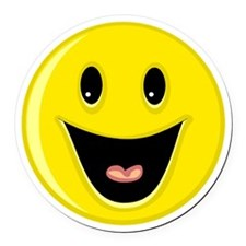 Laughing Smiley Face Round Car Magnet