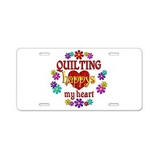 Quilting Happy Aluminum License Plate