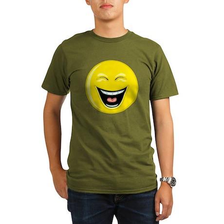 Laughing Smiley Face Organic Men's T-Shirt (dark)
