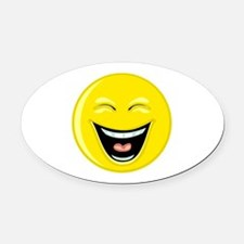 Laughing Smiley Face Oval Car Magnet