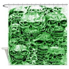 skulls dark ink green shade Shower Curtain