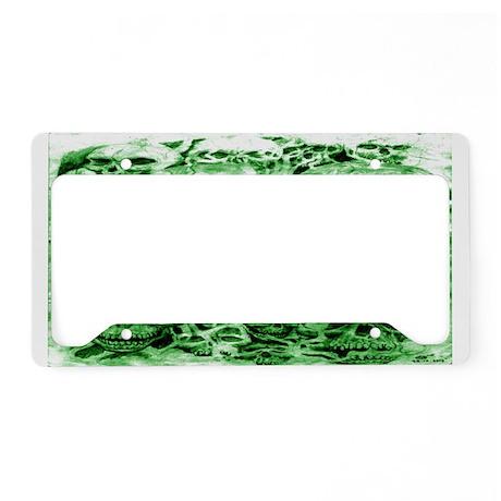 skulls dark ink green shade License Plate Holder