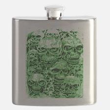 skulls dark ink green shade Flask