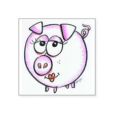 "Pig Diva Square Sticker 3"" x 3"""