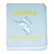 Jaeger Big Game Fishing in Light Blue baby blanket