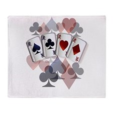 Four Aces and Suits Throw Blanket