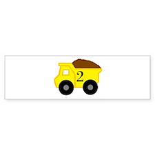 Second Birthday Dump Truck Bumper Sticker
