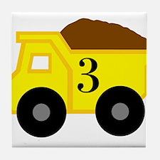 Third Birthday Dump Truck Tile Coaster