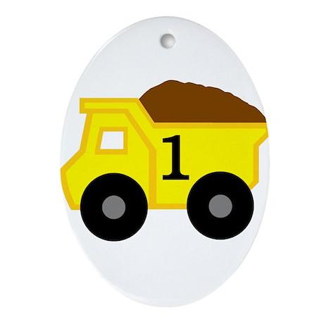 First Birthday Dump Truck Ornament (Oval)