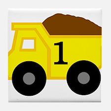 First Birthday Dump Truck Tile Coaster