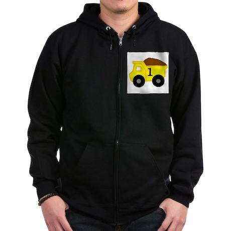 First Birthday Dump Truck Zip Hoodie (dark)