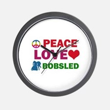 Peace Love Bobsled Designs Wall Clock