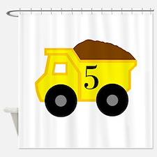 Fifth Birthday Dump Truck Shower Curtain