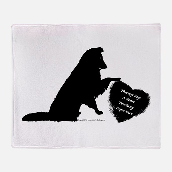 Therapy Heart Black Throw Blanket