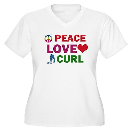 Peace Love Curl Designs Women's Plus Size V-Neck T