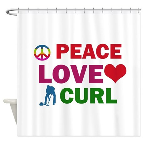 Peace Love Curl Designs Shower Curtain