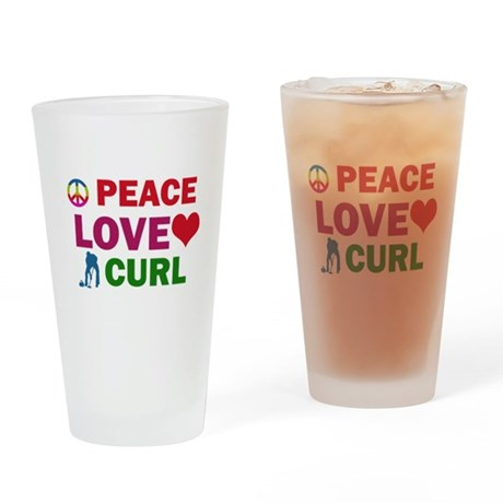 Peace Love Curl Designs Drinking Glass