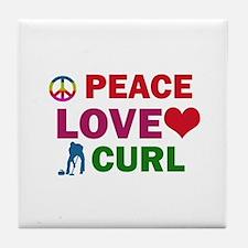 Peace Love Curl Designs Tile Coaster