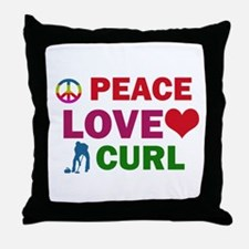 Peace Love Curl Designs Throw Pillow