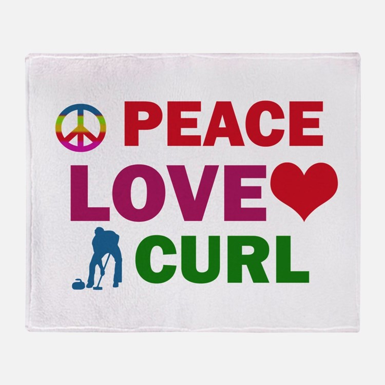 Peace Love Curl Designs Throw Blanket